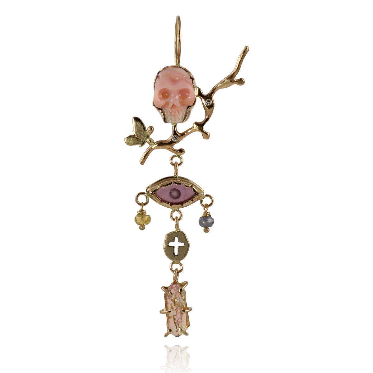 Memento Mori Earring with Diamonds & Garnet
