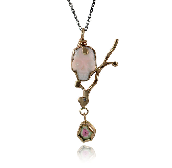 Memento Mori Necklace with Diamond & Watermelon Tourmaline
