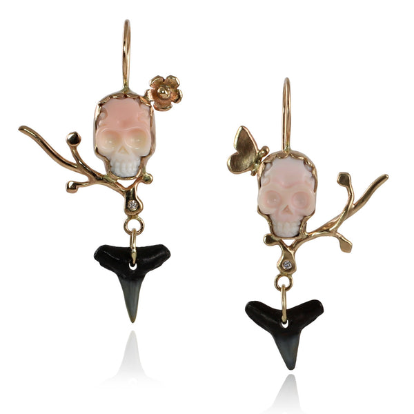 Memento Mori Earrings with Diamonds & Sharks Tooth