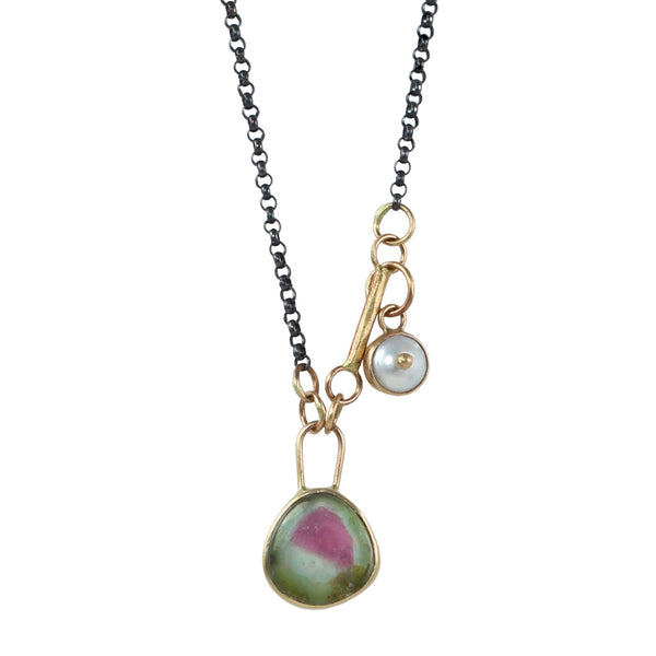 Watermelon Tourmaline & Pearl Evil Eye Necklace