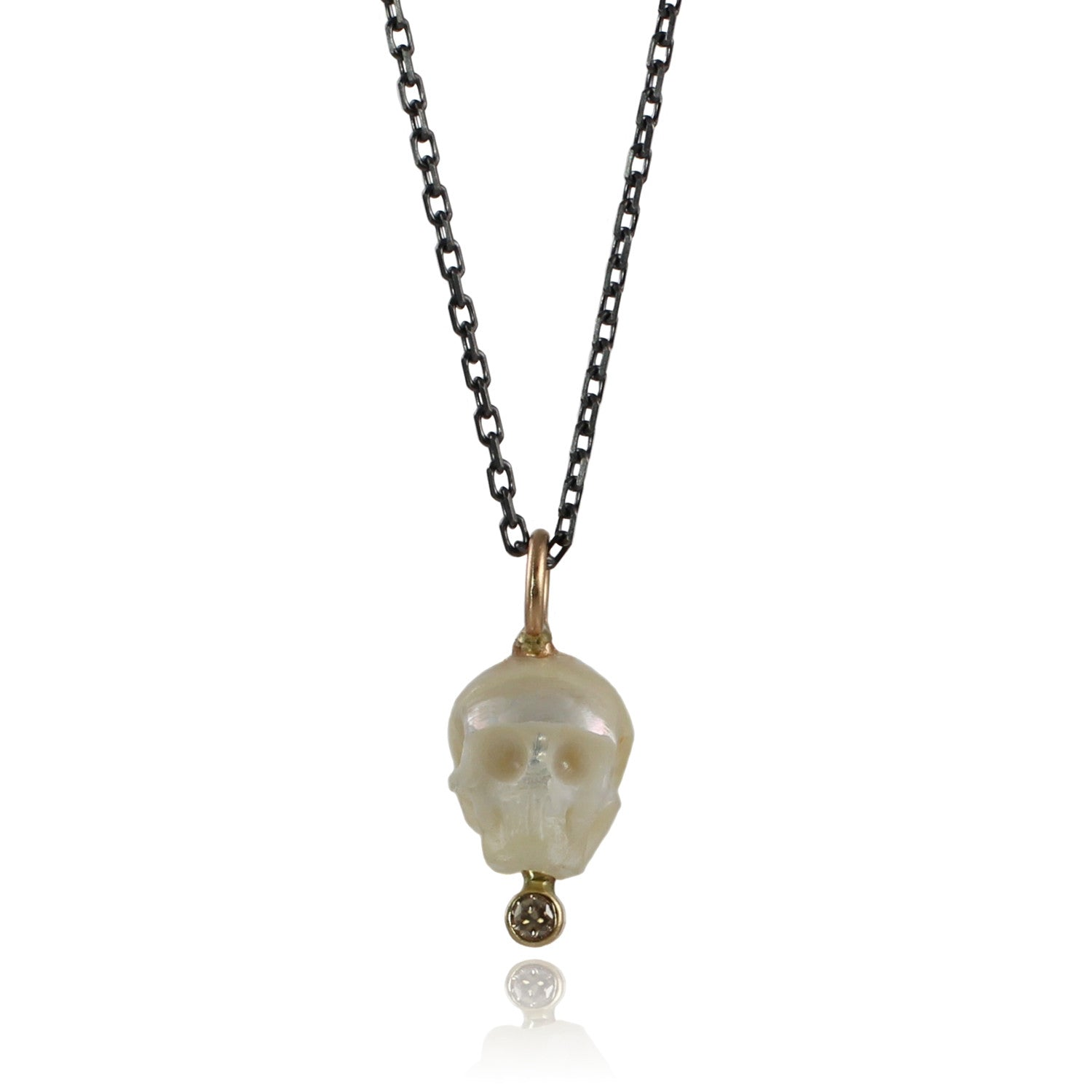 Pearl Memento Mori Necklace with Champagne Diamond