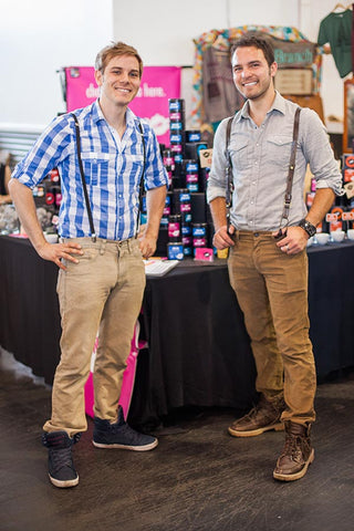 T-WE TEA Renegade Craft Fair 7x7 Style Report shows Keir and Christopher in suspenders and hightop shoes by Supra.