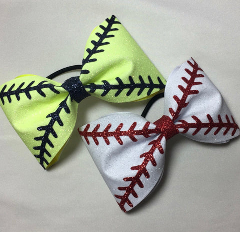 Baseball Stitches Bow