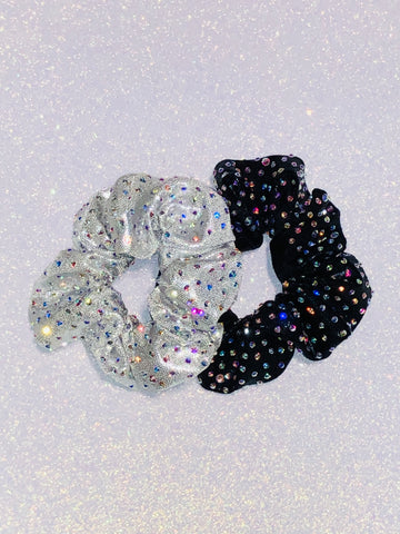 Heavy Scatter Big Little Rhinestone Scrunchie