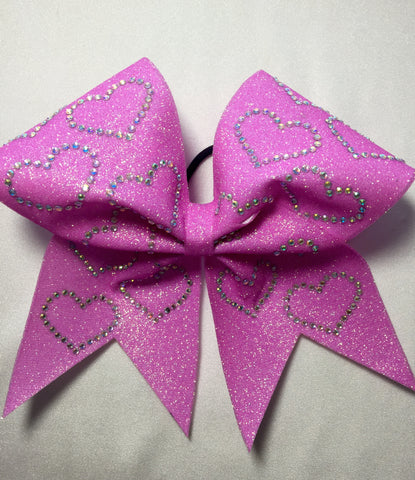 Pink Glitter and Holographic Rhinestone Hearts bow