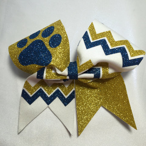 Full Glitter Chevron Pawprint Bow