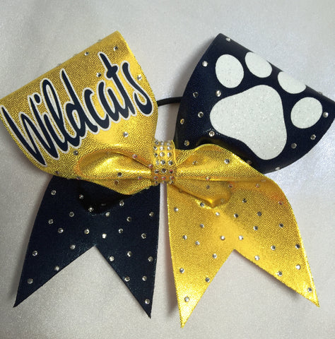 Blue & Yellow Rhinestone Bow with Paw