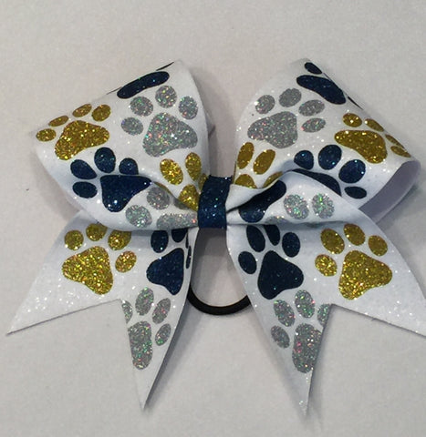Shenango Wildcats Glitter Paw Prints All Over Bow