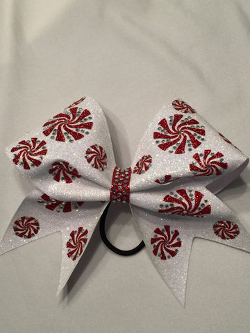 Winter Peppermints Glitter Bow