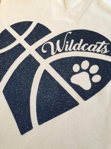 Shenango Wildcats Heart Basketball Hoodie or Tee