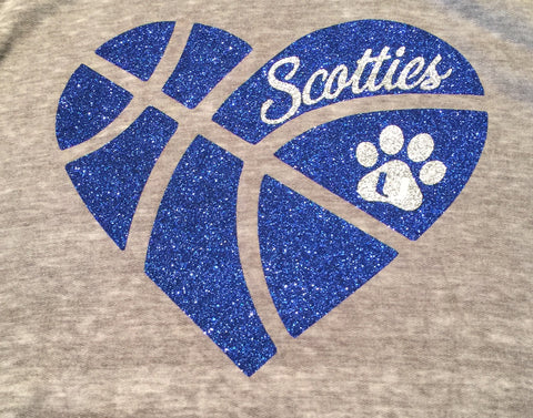Union Scotties Basketball Heart Hoodie or Tee