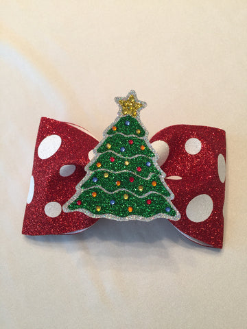 Christmas Tree Tailless Glitter Bow