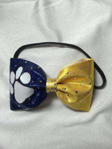 Blue & Yellow Bling Headband Bow