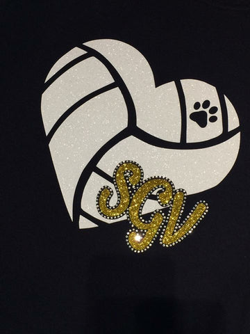 Shenango Wildcats Heart Volleyball Shirt