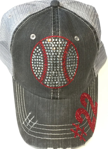 Distressed Baseball Bling hat