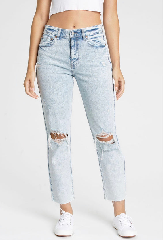 Straight Up High Rise Denim Jeans- Partly Cloudy