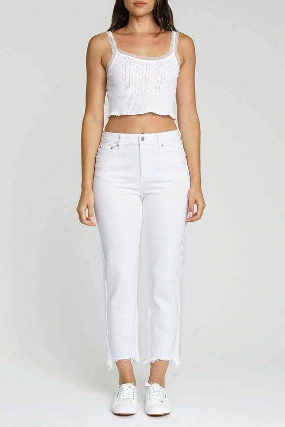 Straight Up High Rise Denim Jeans- White Lightening