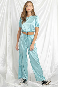 Cloudy Nights Satin Two Piece Set
