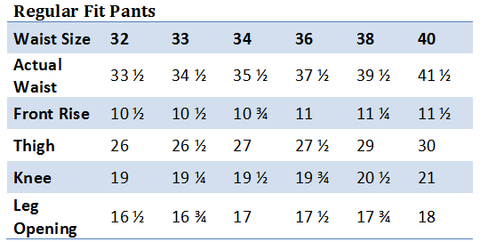 Regular Fit Pants Size Guide