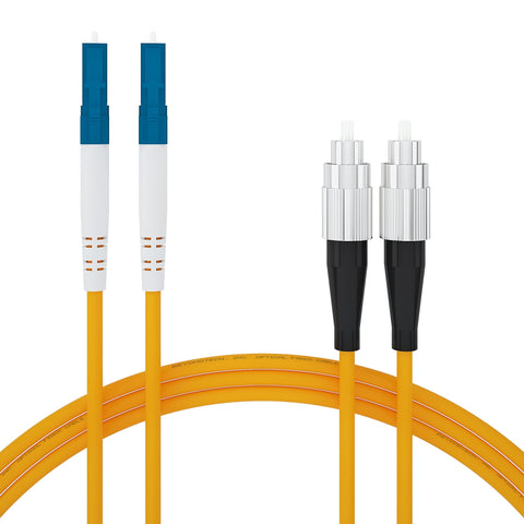 Beyondtech Fiber Optic Patch Cord 3m (9ft) FC to LC OS1 Single mode Duplex Fiber Patch Cable 9/125 - Beyondtech PureOptics Series