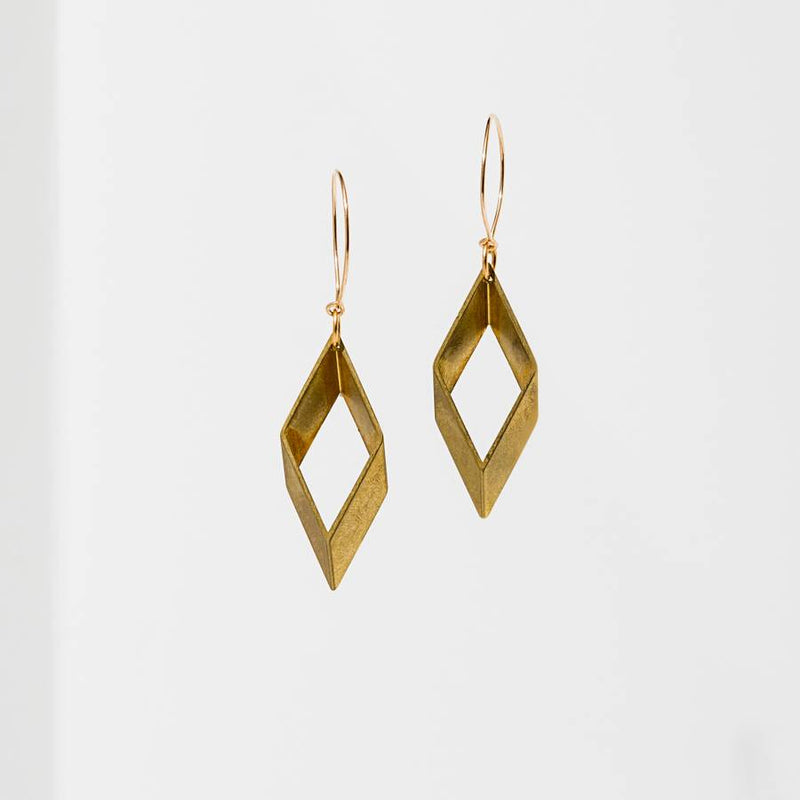 Open Diamond Earrings - Brass