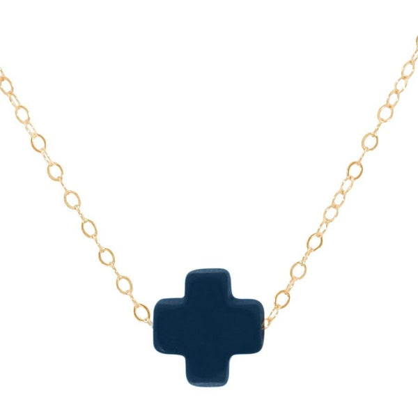 Swiss Style Cross Necklace - Navy