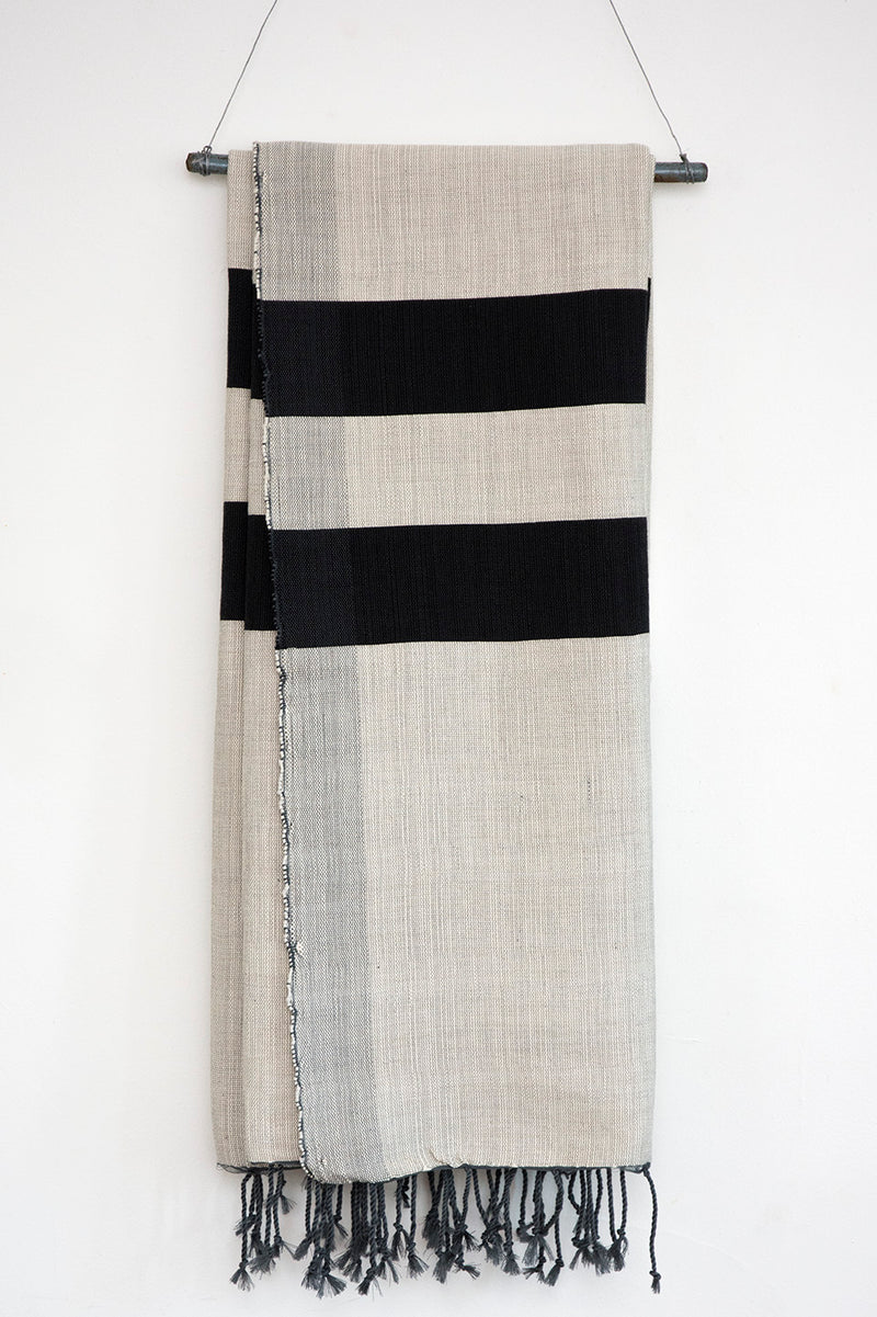 Handwoven Cotton Blanket - Beige & Charcoal