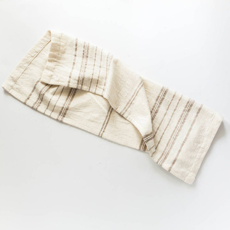 Avery Tea Towel - Stone Stripe