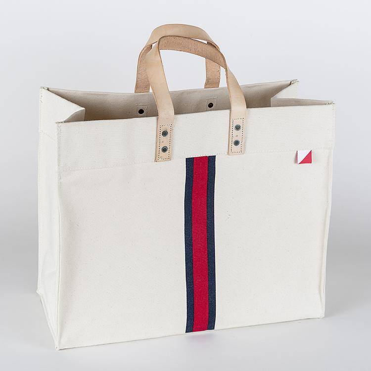 Canvas Box Tote - Red Stripe