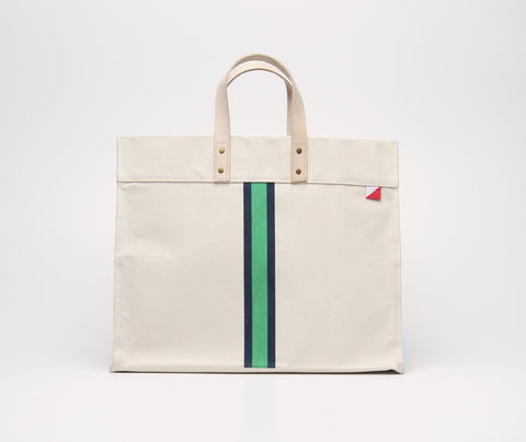 Canvas Box Tote - Green Stripe