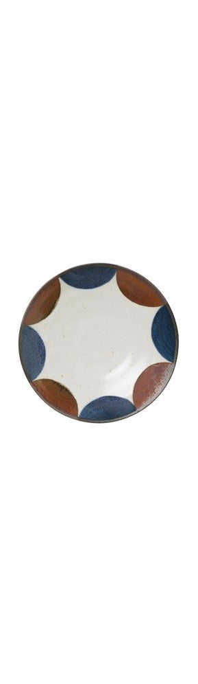 Porcelain Plate - White, Blue & Brown