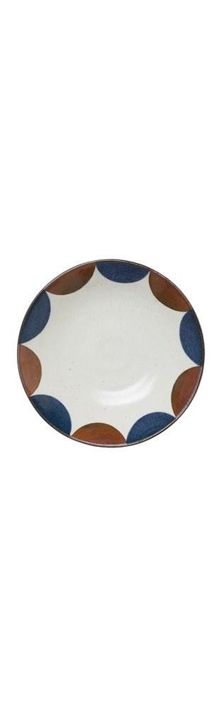 Large Porcelain Bowl - White, Blue & Brown