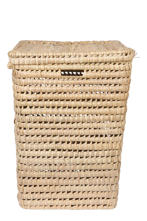 Tall Handwoven Moroccan Basket with Lid - Square