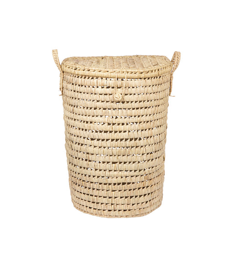 Tall Handwoven Moroccan Basket with Lid - Round