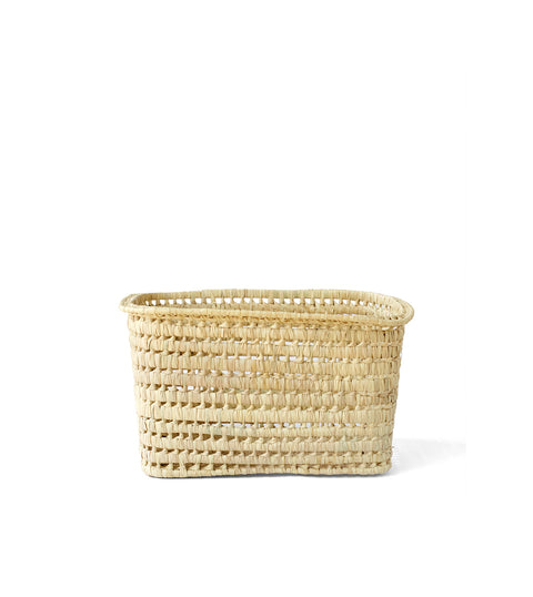 Deep Handwoven Moroccan Basket with Handles