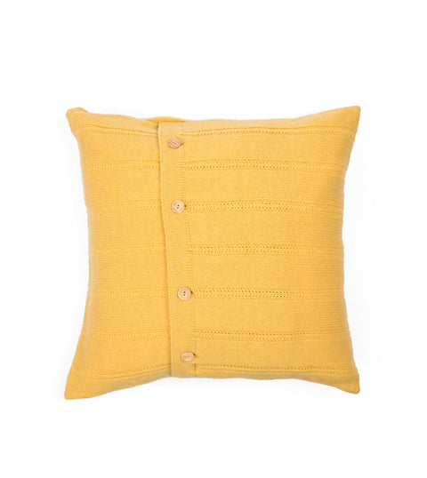 Button Cushion Cover - Yellow