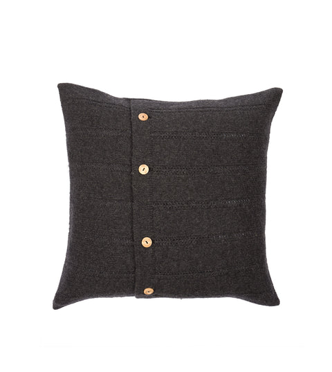 Button Cushion Cover - Charcoal