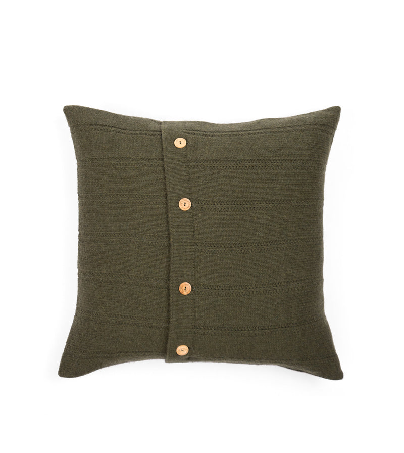 Button Cushion Cover - Green