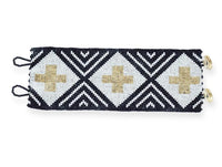 Beaded Cuff - Black & Ivory Stripe With Gold Cross