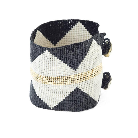 Beaded Cuff - Black With Ivory Diamonds & Gold Stripe