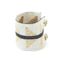 Beaded Cuff - Ivory With Gold Triangles & Black Stripe
