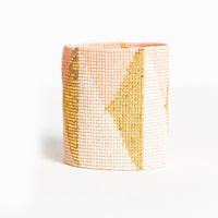 Beaded Cuff - Blush & Ivory With Gold Triangles