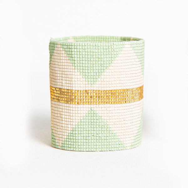 Beaded Cuff - Mint With Ivory Diamonds & Gold Stripe