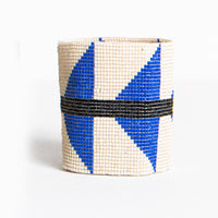 Beaded Cuff - Ivory With Lapis Triangle & Black Stripe