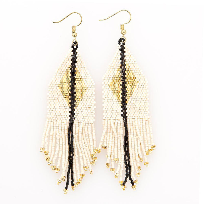 Beaded Fringe Earring - Ivory & Black With Gold Diamond