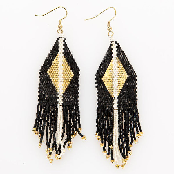 Beaded Fringe Earring - Black With Gold Diamond