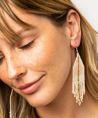 Beaded Fringe Earring - Ivory & Gold With Blush Diamond