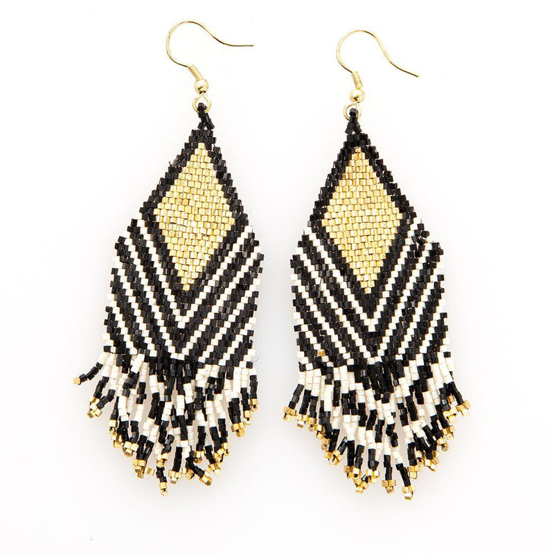 Beaded Fringe Earring - Black & Gold With Ivory Stripe