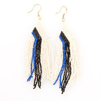 Beaded Fringe Earring - Ivory With Lapis & Black