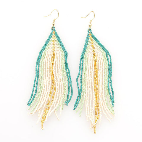 Beaded Fringe Earring - Ivory With Teal Mint & Gold